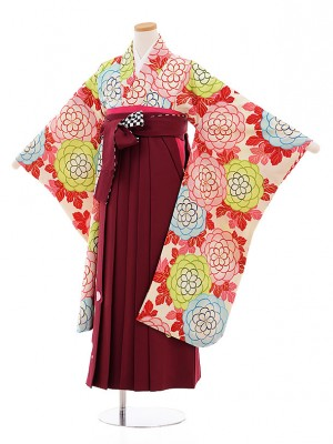 小学生卒業式袴レンタル9489紅一点クリーム地花×赤紫袴