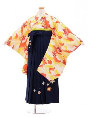 小学校卒業式袴レンタル(女の子)9861 黄色桐×紺袴