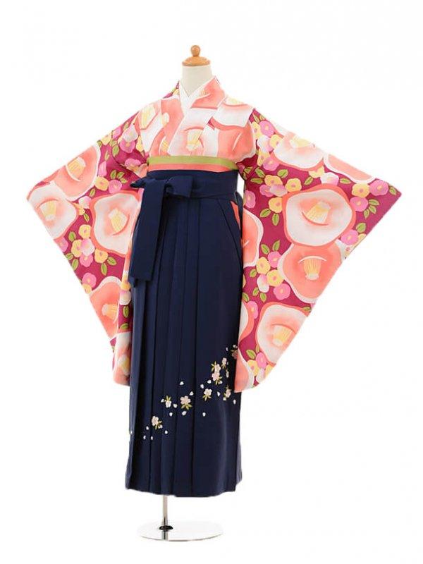 小学生卒業式袴レンタル(女の子)9142 ワイン椿×紺袴