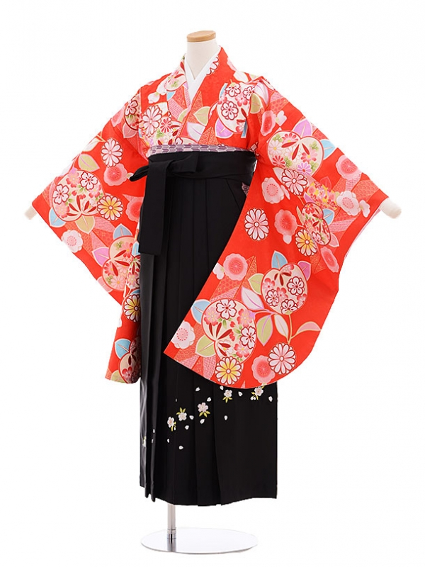 小学生卒業式袴レンタル(女の子)9633赤地矢柄橘×黒袴