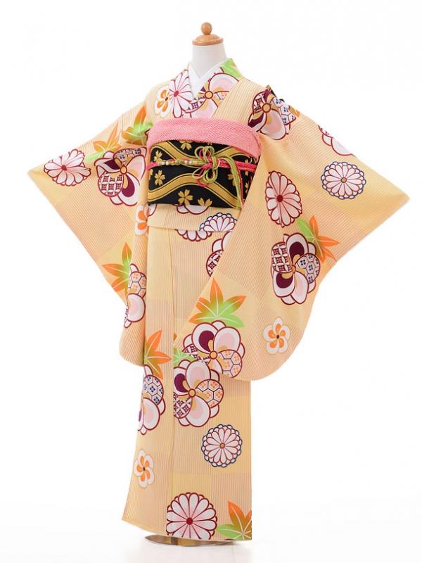 ジュニア着物jh9427黄色 菊ねじり梅
