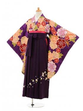小学生卒業式袴女児9159 紫地ぼたん×パープ