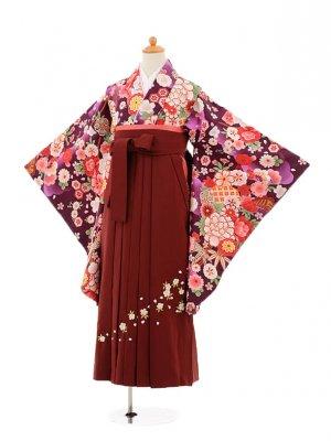小学生卒業式袴レンタル(女の子)9174 紫地花×エンジ袴
