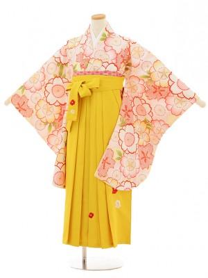 小学生卒業式袴レンタル(女の子)9512 クリーム地桜×イエロー袴