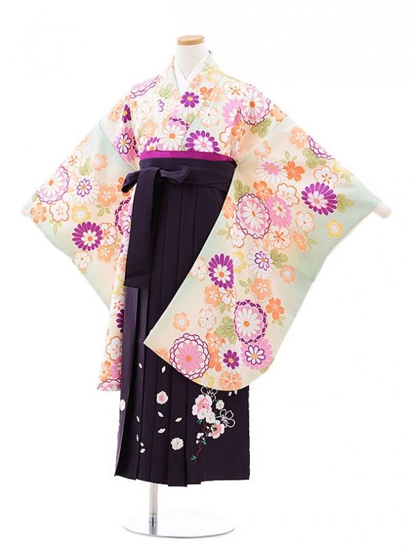 小学生卒業式袴レンタル(女の子)9729 黄緑菊桜×パープル袴