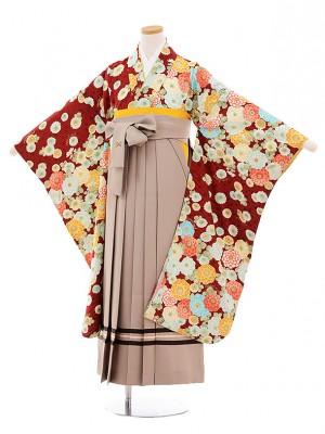 小学生卒業式袴9480ポンポネット赤地花ベージュ袴