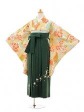 小学生卒業式袴女児9136 クリーム鶴桜×グリーン袴