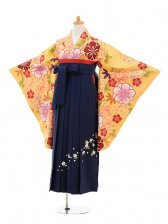 小学生卒業式袴女児9161 黄色牡丹×紺袴