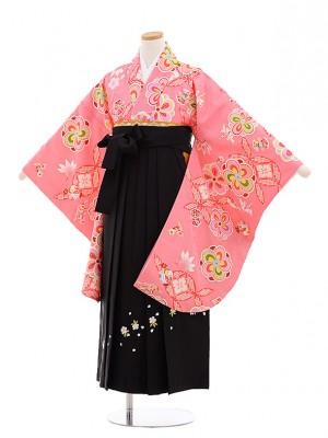 小学生 卒業式 袴レンタル(女の子)9636ピンク地ねじり梅×黒袴