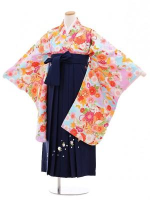 小学校卒業式袴レンタル(女の子)9657水色地雲取花×紺桜袴