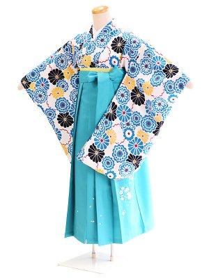 ジュニア袴女025オフホワイト/花|エメラルドグリーン/桜・刺繍