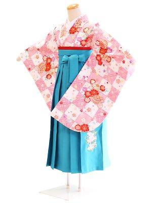 ジュニア袴女003白・ピンク/格子|水色/桜