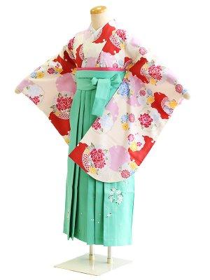 ジュニア袴女027クリーム/雪輪|ライトグリーン/桜・刺繍
