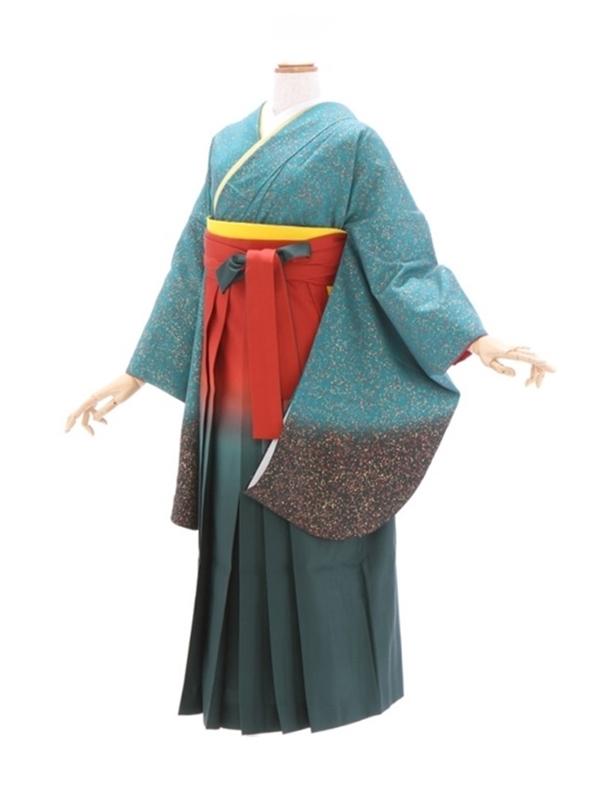 女性袴366/グリーン裾ぼかし金粉たたき