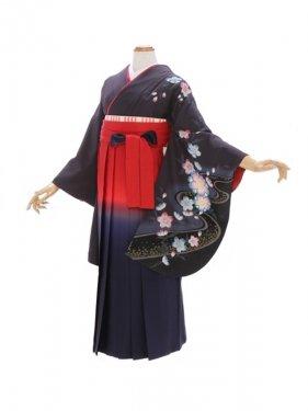 女性袴430/薄墨色流水に桜