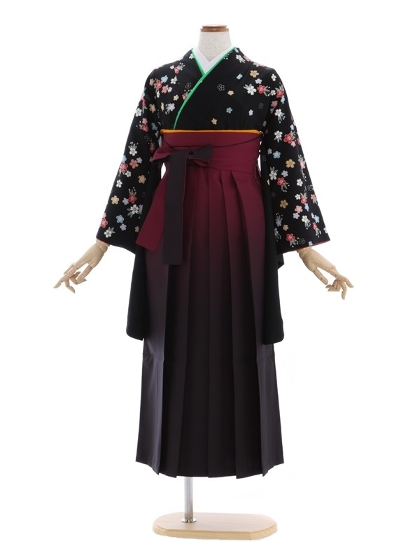 女性袴321/黒 桜花紋