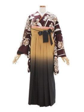 女性袴648/ワイン色にバラと蝶/ニコル