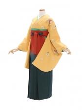 女性袴465/黄色に桜刺繍