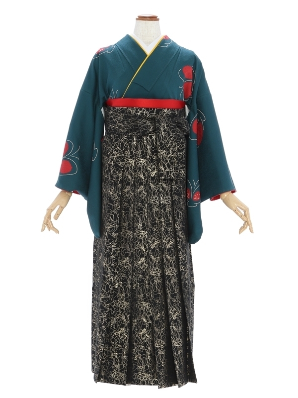 女性袴846/グリーン蝶柄