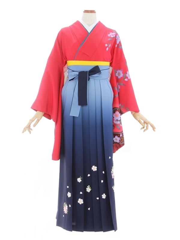 女性袴428/ピンク流水に桜