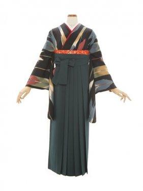 女性袴580/黒地に変り矢がすり