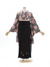 女性袴598/黒しぼり花柄