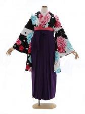 女性袴740/白黒水玉バラの花