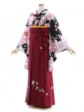 女性袴738/黒地に薄ピンク桜柄