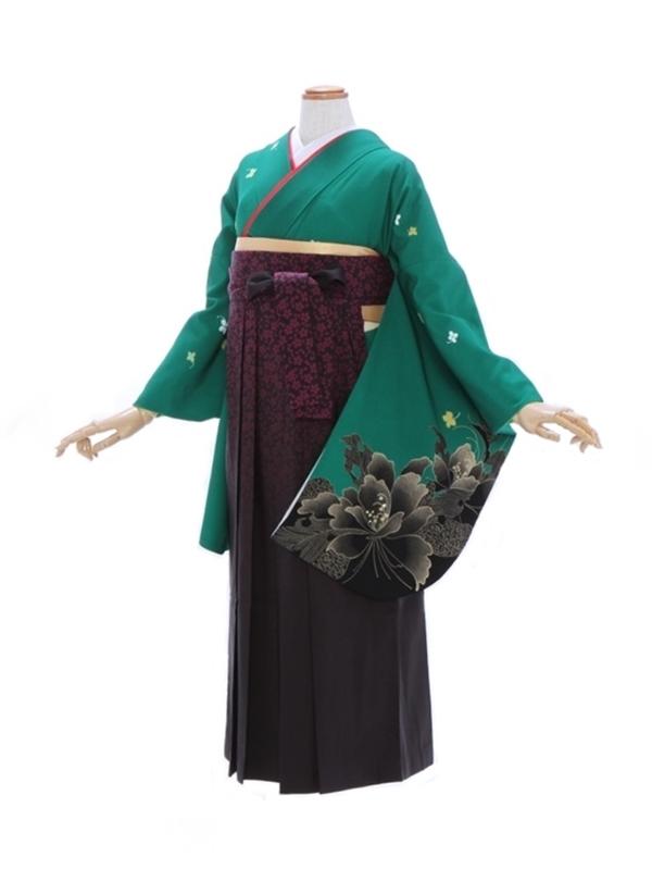 女性袴481/グリーン地に小花