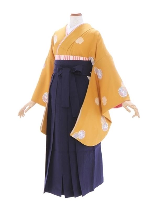 女性袴531/からし色地に雪輪