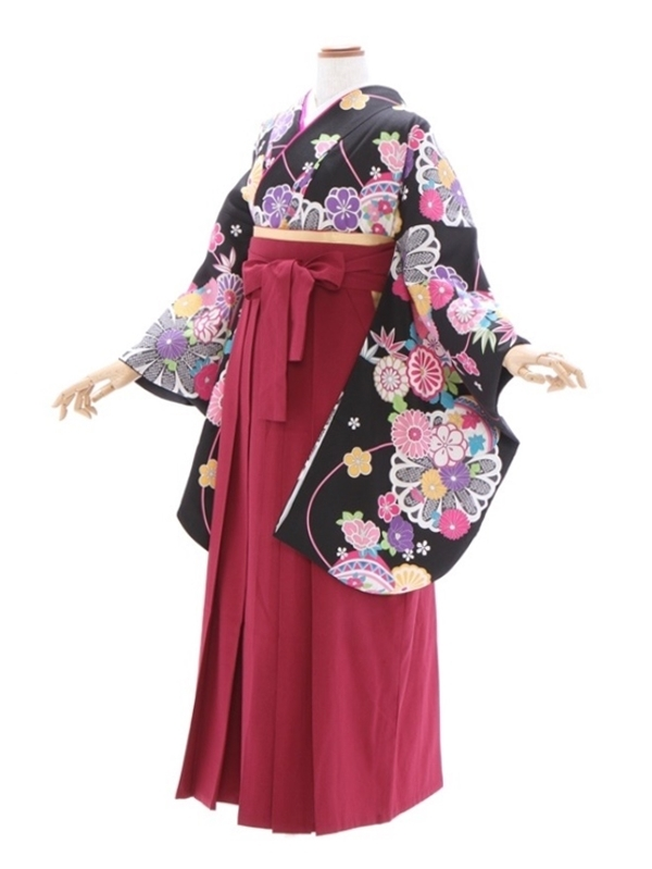 女性袴883/黒地に菊と鞠