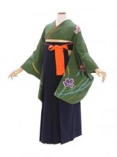 女性袴385/モスグリーン洋花染め