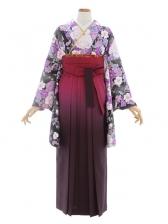 女性袴668/黒地に紫花柄