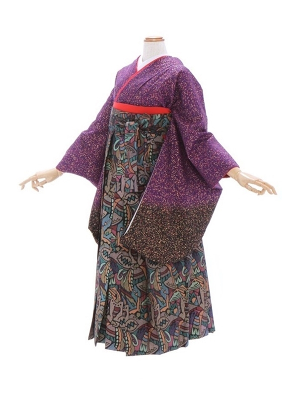女性袴365/紫裾黒ぼかし金粉たたき風