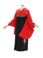 女性袴285/赤無地に花紋