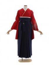 女性袴568/赤に青海波に桜