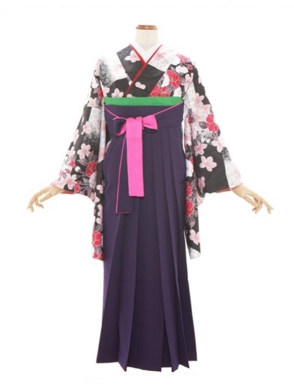 女性袴667/黒白コンビ花柄
