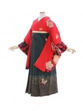 女性袴492/赤に袖黒染め