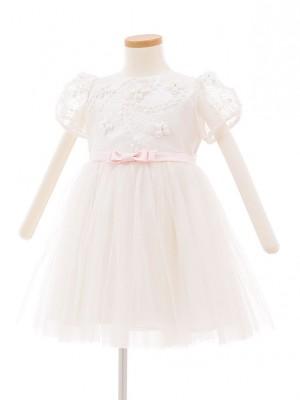 子どもドレス 5018 ホワイト ピンクリボンチュール