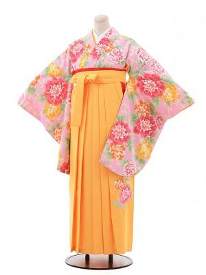 卒業袴レンタル h218 ピンク地 ぼたん×黄色袴