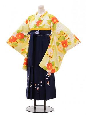 卒業袴レンタル h209 黄緑 椿×紺袴