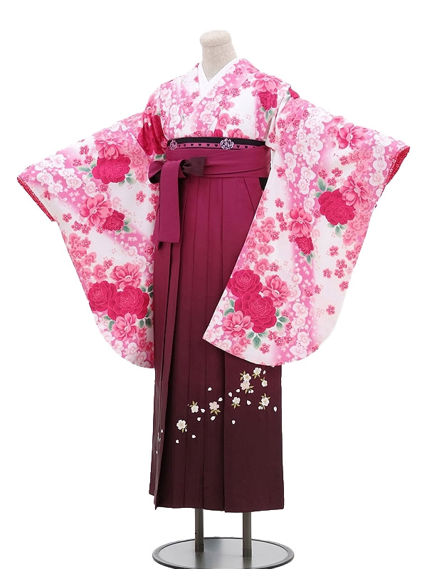 卒業袴レンタル h038白×ピンク