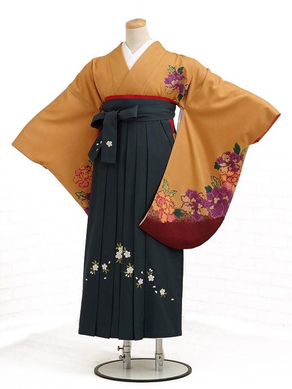 卒業袴レンタル h010からし色牡丹