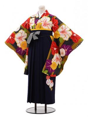 卒業袴レンタル h069 JAPAN STYLE×中村里砂 黒×紺
