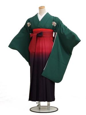 卒業袴レンタル h025グリーン花紋