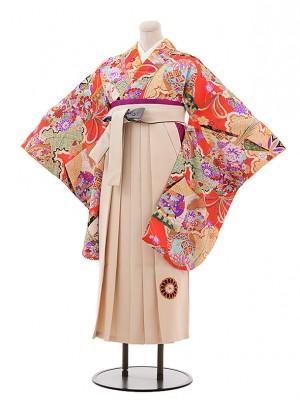 卒業袴レンタル h229 赤地 古典×ベージュ袴
