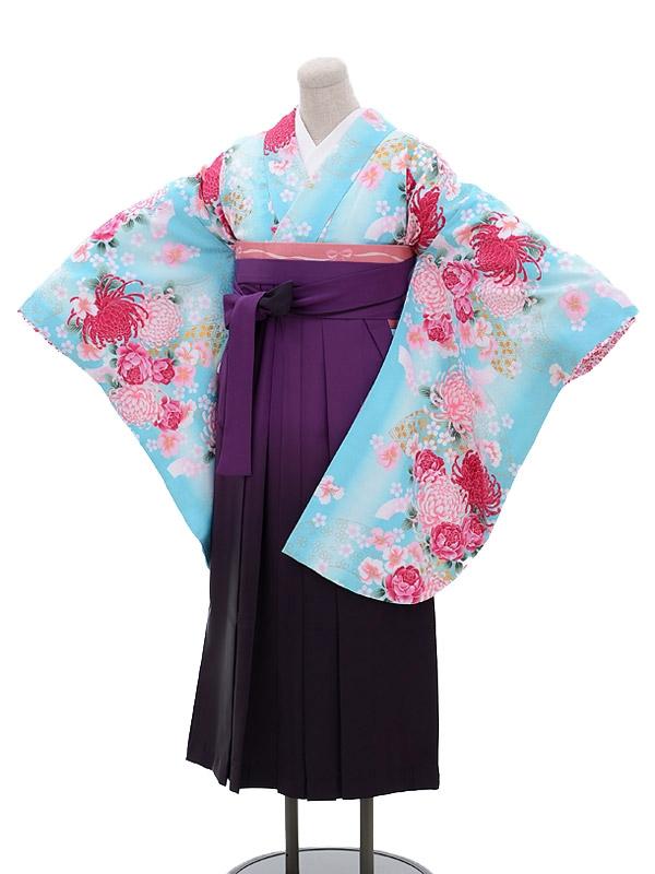 卒業袴レンタル h058ブルー