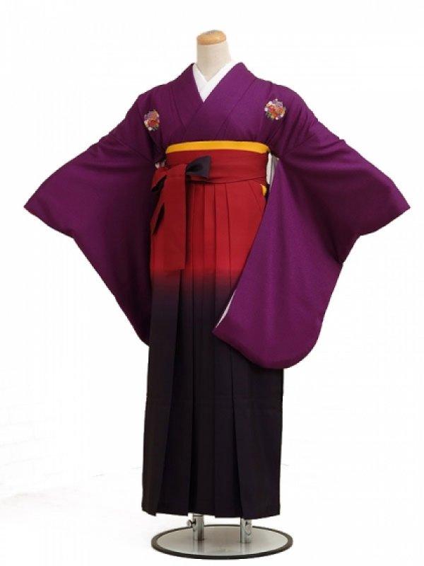 卒業袴レンタル h014紫花紋