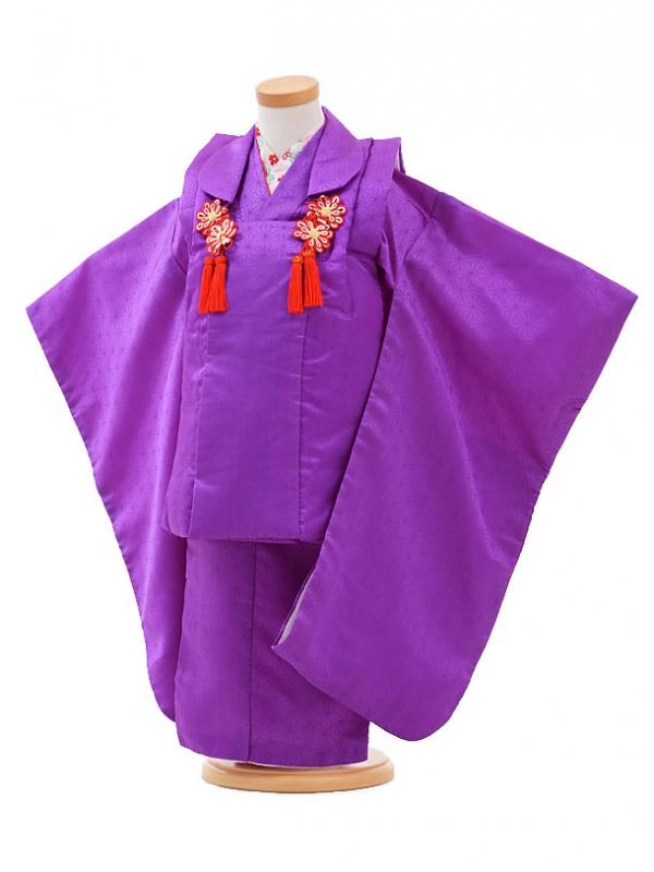 七五三レンタル(3歳女被布)H022紫 麻の葉
