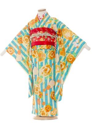 七五三レンタル(5歳女の子結び帯)5009 水色地/ストライプ・バラ